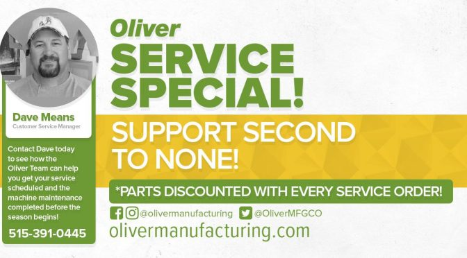 Oliver Service Special for the Month of May
